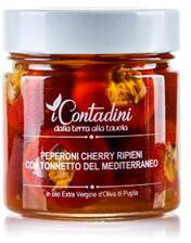 Peperoni Cherry ripieni al tonno · Sun-dried cherry Tomatoes with tuna cibo