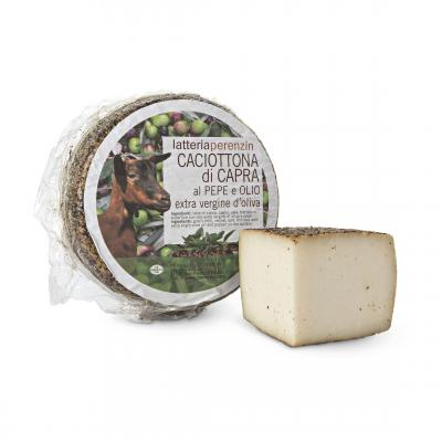 Caciotta di Capra al pepe e olio evo matured with Pepper and EVO Oil, Valsana, Cibo, Cheese, Supplier, Importer, Wholesaler, Italian, formaggio